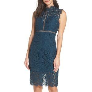Bardot Lace Sheath Dress Blue